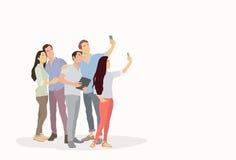 Folkgruppkontur som tar det Selfie fotoet på den smarta telefonen Royaltyfri Foto