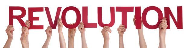 Folkhänder som rymmer den röda raka ordrevolutionen Arkivfoton