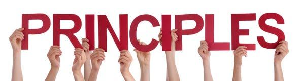 Folkhänder som rymmer röda raka ordprinciper Arkivfoton