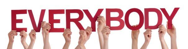 Folkhänder som rymmer rött rakt ord alla Arkivbilder