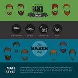 Folkheirsylesymbolen, samlingen av skägg och mustaschforbarber shoppar Mans moderiktiga frisyrtyper för burber shoppar stock illustrationer