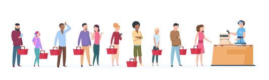 Folkkö Man- och kvinnaanseende som väntar i lång radrad Fullsatt kö i livsmedelsbutikbegrepp royaltyfri illustrationer