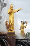 Folkkamratskapspringbrunnen på VDNKH parkerar i Moskva Arkivfoto