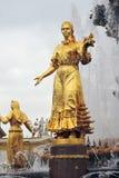 Folkkamratskapspringbrunnen på VDNKH parkerar i Moskva Royaltyfria Foton