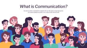 Folkkommunikationsbegrepp med manliga och kvinnliga avatars Arkivfoton