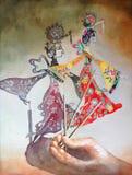 Folkkonst för traditionell kines för lek för skugga för vattenfärgmålningillustration Arkivfoton