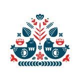 Folkkonstsammansättning med fåglar och dekorativa beståndsdelar royaltyfri illustrationer