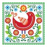 Folkkonstvektormodell med fågeln och blommor Royaltyfria Bilder