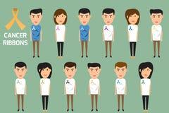 Folkkropp med cancerband vektor för cancermedvetenhetband stock illustrationer