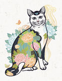 Folklore cat with flowers and butterfly tattoo. Stock Image