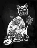 Folklore cat with flowers and butterfly tattoo. Stock Photos