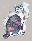 Folklore cat with flowers and butterfly tattoo. Royalty Free Stock Photo
