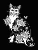 Folklore cat with flowers and butterfly tattoo. Royalty Free Stock Images