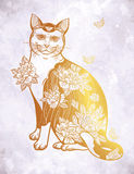 Folklore cat with flowers and butterfly tattoo. Royalty Free Stock Image