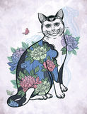 Folklore cat with flowers and butterfly tattoo. Royalty Free Stock Photos