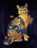 Folklore cat with flowers and butterfly tattoo. Stock Photo