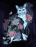 Folklore cat with flowers and butterfly tattoo. Stock Photography