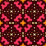 Folklore contrast seamless pattern. Boho style. Orange, yellow, pink, elements; Brown background. Tribal ethnic vector texture royalty free illustration
