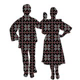 Folklore dancers in patterned ethnic motifs. On white background stock illustration