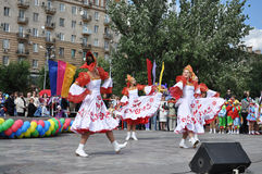 A folklore dancing  group Stock Images