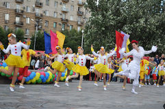 A folklore dancing group Stock Photos