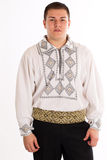 Folklore dressed man on white background Royalty Free Stock Photos