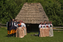 Folklore ensemble of Poland. Performance of Song and Dance Ensemble Chorzów during the 60th birthday of the Provincial Park of Culture and Recreation (WPKiW) in royalty free stock photo