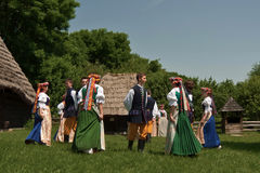 Folklore ensemble of Poland. Performance of Song and Dance Ensemble Chorzów during the 60th birthday of the Provincial Park of Culture and Recreation (WPKiW) in royalty free stock photos
