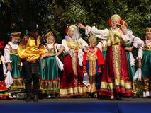 Folklore ensemble of Russian national song Royalty Free Stock Photo