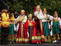 Folklore ensemble of Russian national song Stock Images