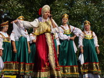 Folklore ensemble of Russian national song Stock Photography