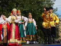 Folklore ensemble of Russian national song Stock Photo