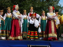 Folklore ensemble of Russian national song stock photos