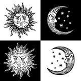 Folklore för vektor för tappning för mänskliga framsidor för stjärna för illustrationsolmåne retro Royaltyfri Fotografi