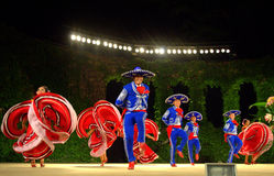 Folklore festival dance. Spectacular Mexican dancers at Summer theatre stage Varna,Bulgaria at 23th International Folklore Festival opening evening .August 3rd Stock Image