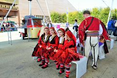 A folklore group from Greece at the EXPO Milano 2015. Royalty Free Stock Photo