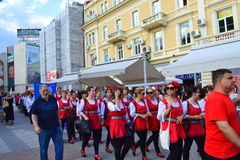 Folklore group at street Parade,Plovdiv,Bulgaria Stock Photo