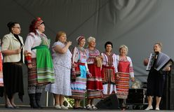 Folklore group of women in a national Mordovian dress Stock Photos