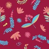 Folklore herbal background seamless flowers pattern stock illustration