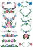 Folklore pattern, elements, Gorodets painting, Russia Stock Photo