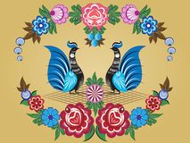 Folklore pattern, Gorodets painting, Russia Stock Photography