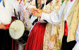 Folklore of Provence. People dressed up in traditional medieval Provencial clothes dancing at the street in Provence Royalty Free Stock Photography