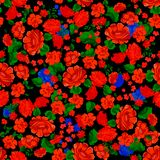 Folklore seamless pattern with red flowers. Vector patch for print.  royalty free illustration