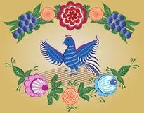 Folkloremodell, Gorodets målning, Ryssland Arkivbilder