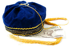Folkloric Greek hat and old Greek banknotes Stock Photos