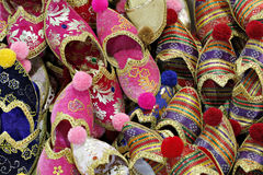 Folkloric slippers in Spice Bazaar, Istanbul Royalty Free Stock Photo