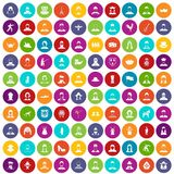 folkloriques couleur réglée 100 par icônes illustration stock
