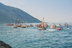 Folkloristic Christian procession of boats during thanksgiving a royalty free stock images