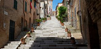 Folkloristic stairs in town. A folkloristic stairs rich of plants and flowers in Corinaldo`s medieval center royalty free stock images