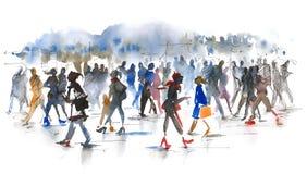 folkmassa stock illustrationer